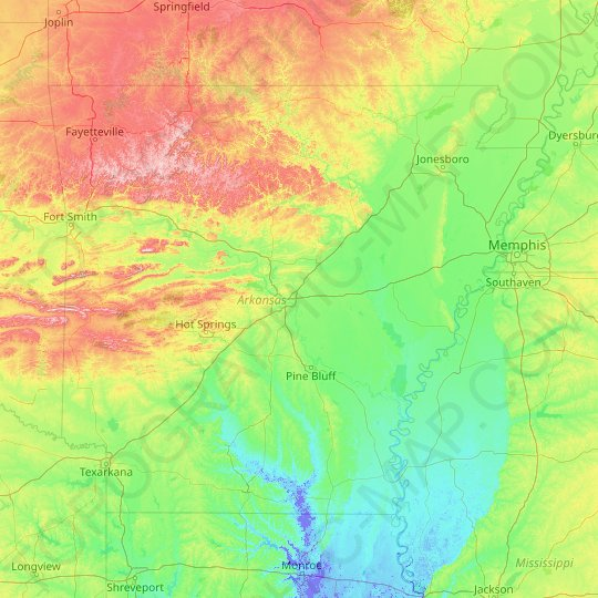 Arkansas topographic map, elevation, relief