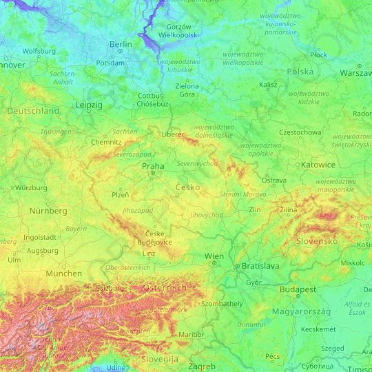 Czechia topographic map, relief map, elevations map