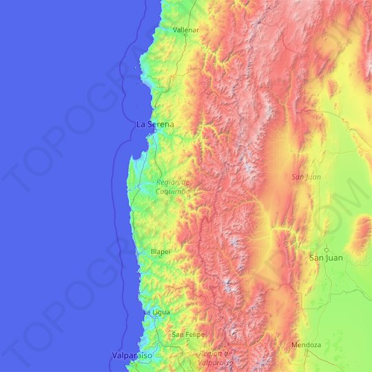 Coquimbo Region topographic map, relief map, elevations map