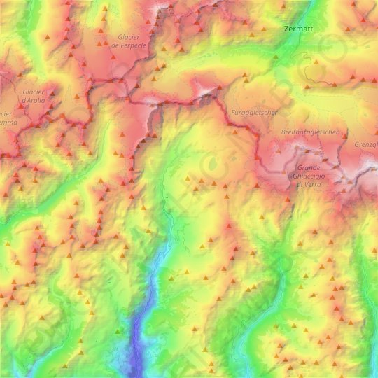 Valtournenche topographic map, relief map, elevations map