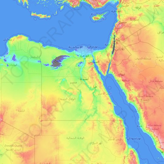Egypt topographic map, elevation, relief