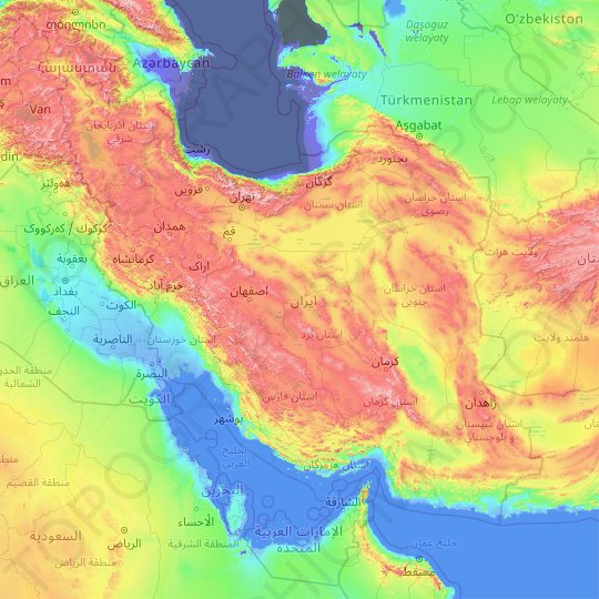 Iran topographic map, relief, elevation