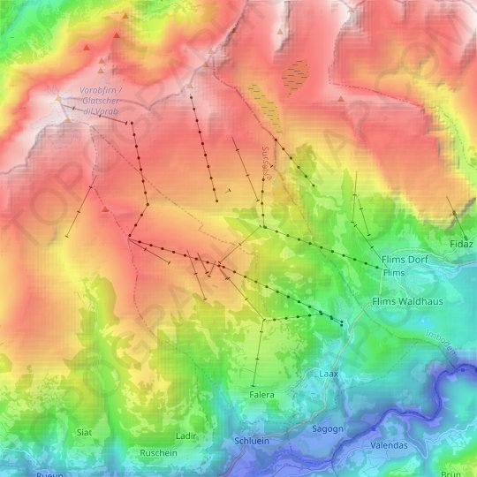 Laax topographic map, relief map, elevations map