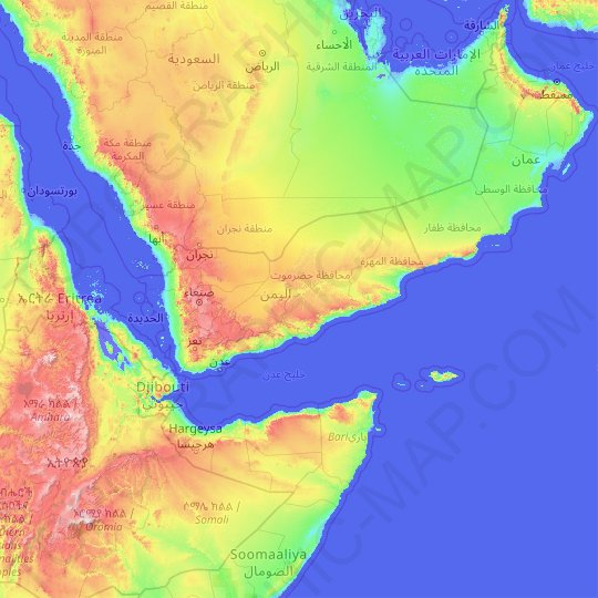 Yemen topographic map, relief map, elevations map