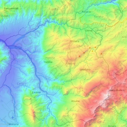 Ermera topographic map, elevation, relief