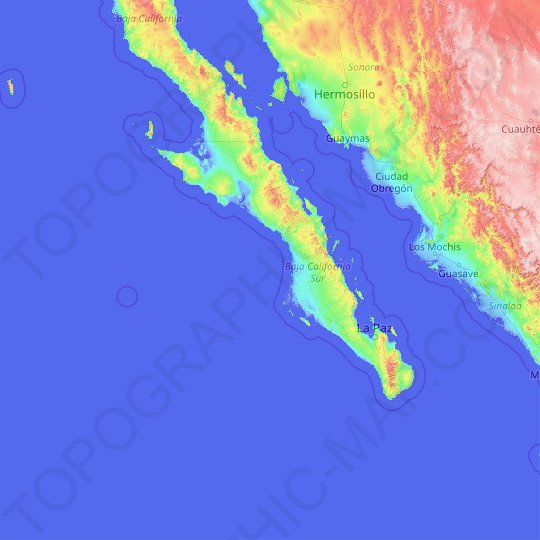 South Lower California topographic map, elevation, relief