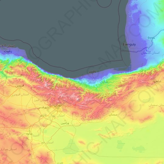Mazandaran Province topographic map, relief map, elevations map