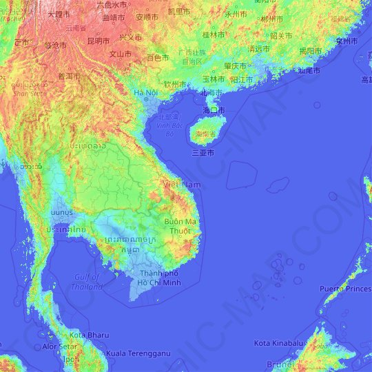 Vietnam topographic map, elevation, relief