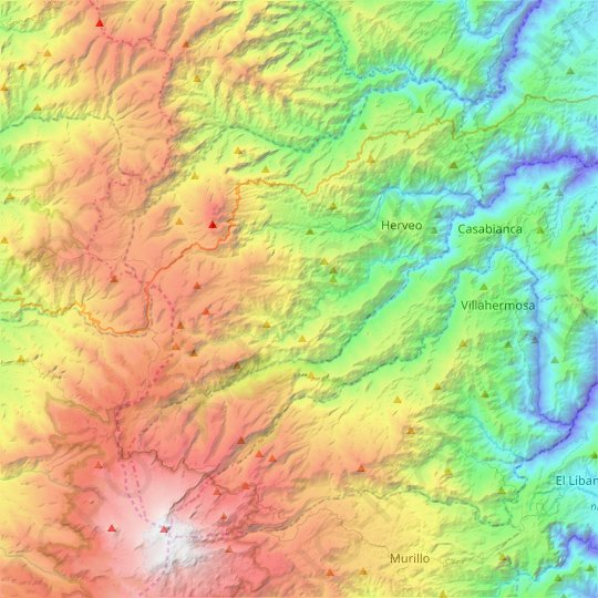 Herveo topographic map, relief map, elevations map