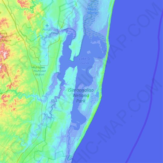 Lake St Lucia topographic map, relief map, elevations map
