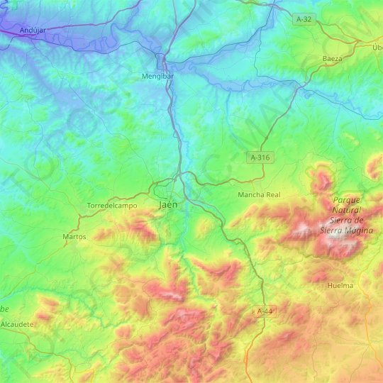Jaén topographic map, elevation, relief