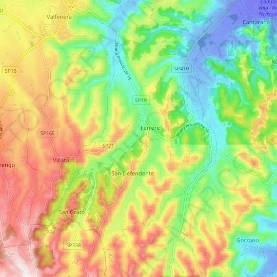 Ferrere topographic map, elevation, relief