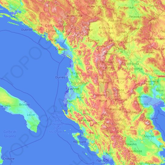Albania topographic map, relief map, elevations map