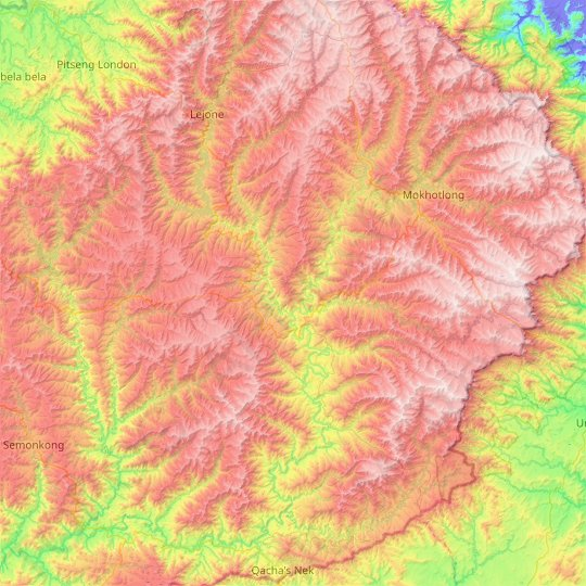 Thaba-Tseka District topographic map, relief map, elevations map