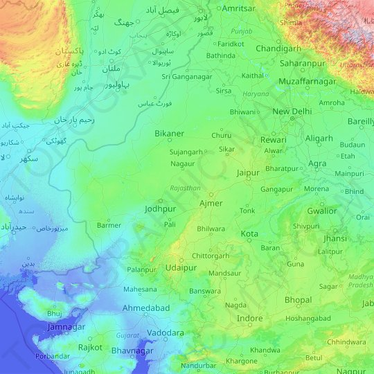 Rajasthan topographic map, relief map, elevations map