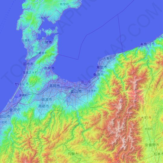 Chubu Region topographic map, elevation, relief
