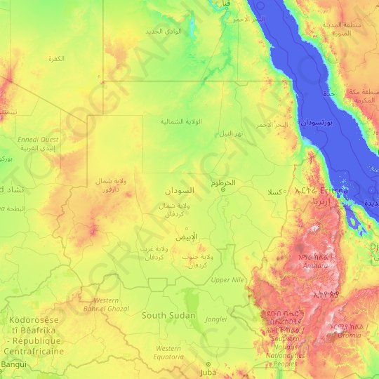 Sudan topographic map, elevation, relief