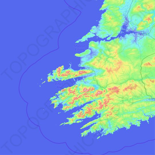 County Kerry topographic map, relief, elevation