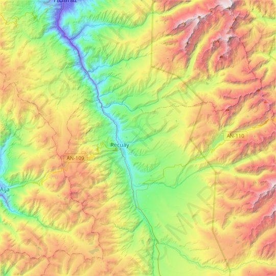 Recuay topographic map, relief map, elevations map