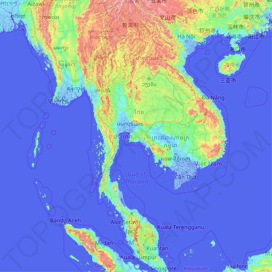 Thailand topographic map, relief map, elevations map