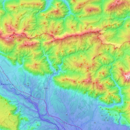 Tržič topographic map, relief map, elevations map