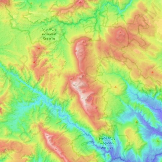 Snowy Range topographic map, relief map, elevations map