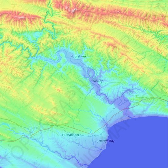 Gamtoos River topographic map, relief map, elevations map