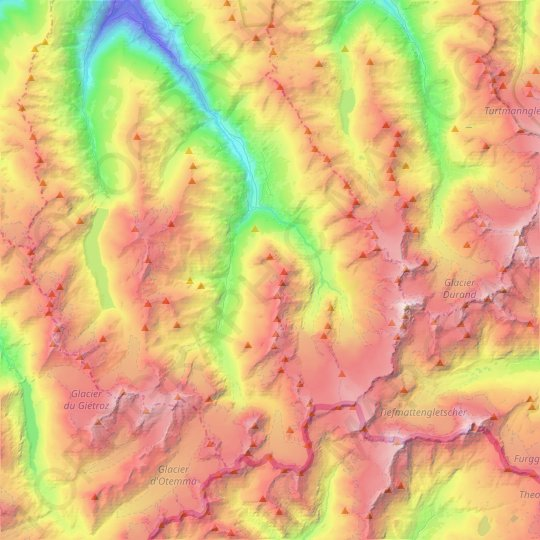 Evolène topographic map, relief map, elevations map