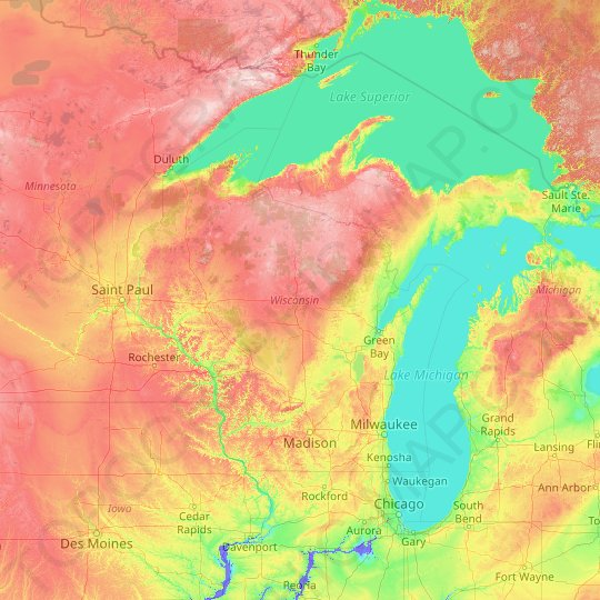 Wisconsin topographic map, elevation, relief