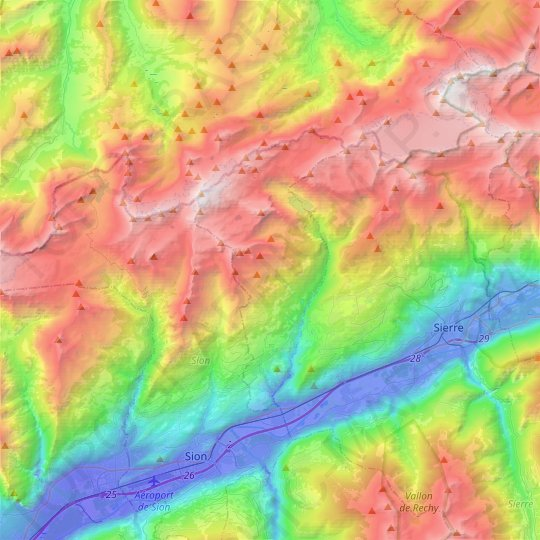 Ayent topographic map, relief, elevation
