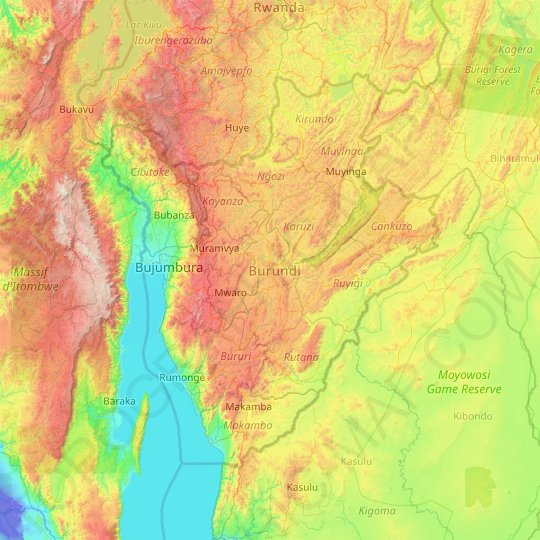 Burundi topographic map, relief map, elevations map
