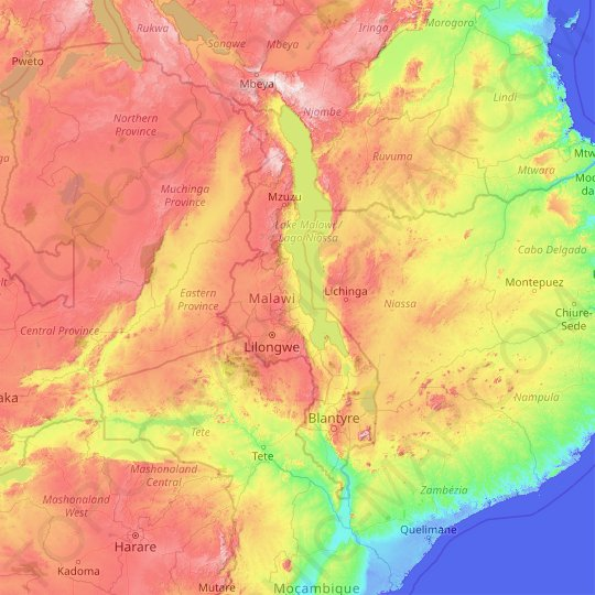 Malawi topographic map, relief map, elevations map