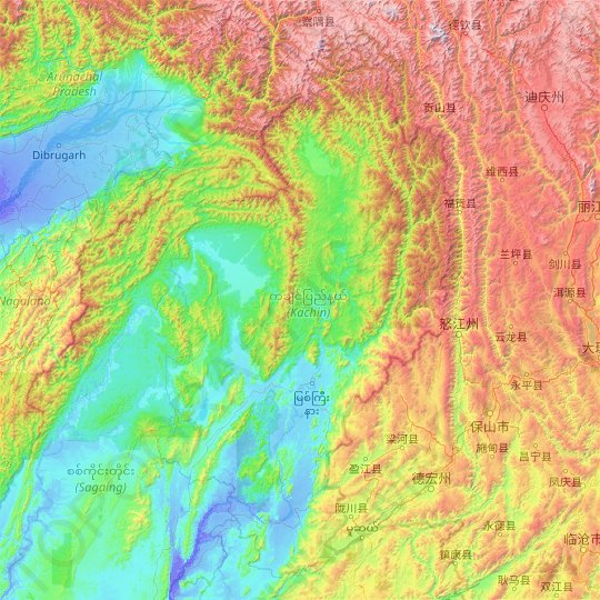 Kachin topographic map, relief, elevation