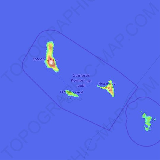 Comoros topographic map, relief map, elevations map