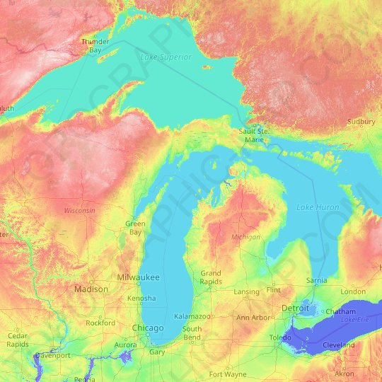 Michigan topographic map, relief, elevation