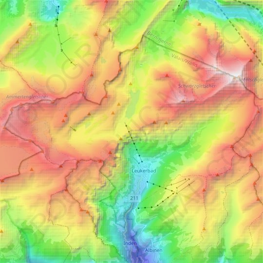 Leukerbad topographic map, relief map, elevations map