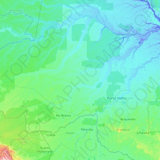 Purus River topographic map, relief map, elevations map