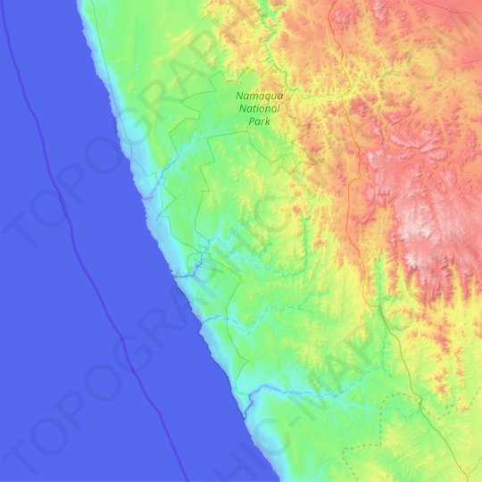 Namaqua National Park topographic map, elevation, relief