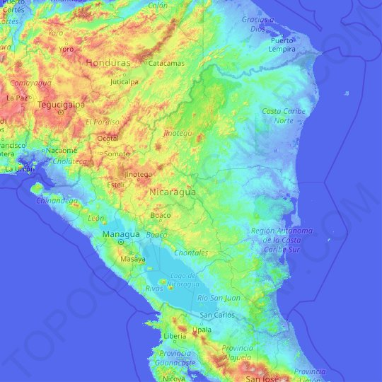 Nicaragua topographic map, relief map, elevations map
