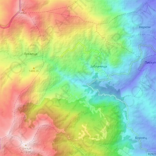 Jablanica topographic map, relief map, elevations map