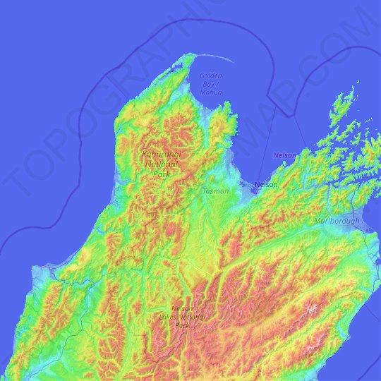 Tasman topographic map, relief, elevation