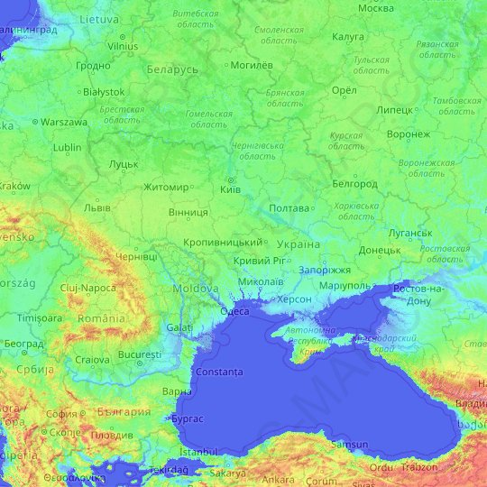Ukraine topographic map, elevation, relief