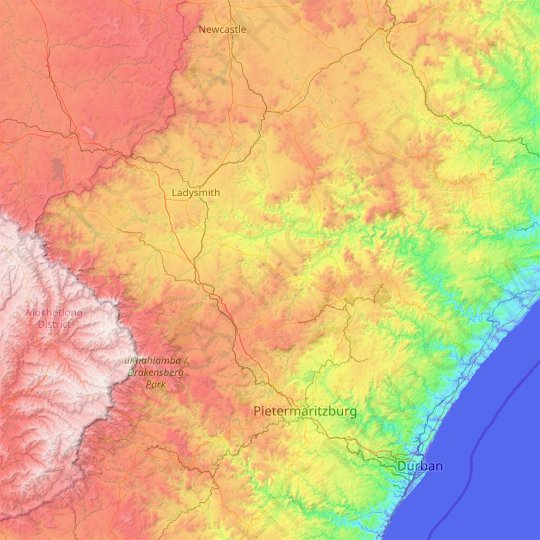 Tugela River topographic map, elevation, relief