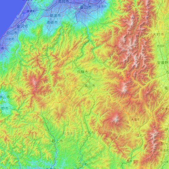 Takayama topographic map, relief map, elevations map