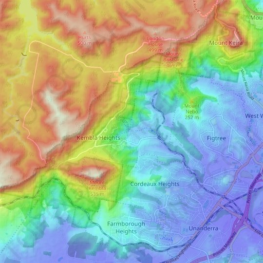 Mount Kembla topographic map, relief, elevation