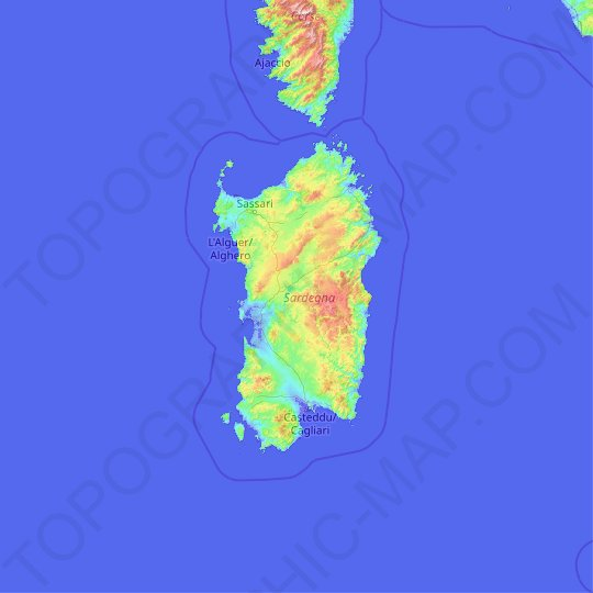 Sardinia topographic map, relief map, elevations map