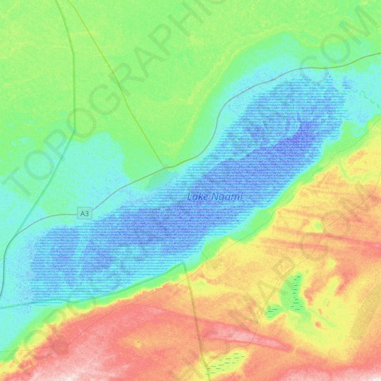 Lake Ngami topographic map, relief map, elevations map