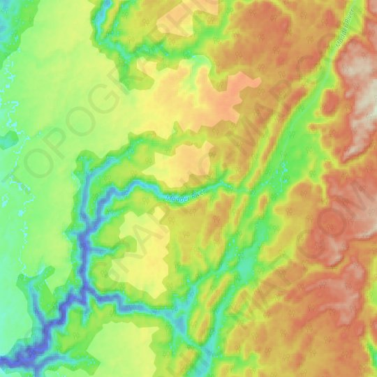 Modder River topographic map, relief map, elevations map