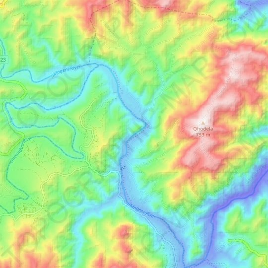 Umgeni River topographic map, elevation, relief
