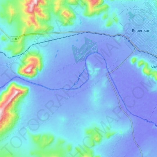 Breede River topographic map, elevation, relief